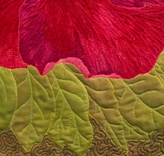 Flower Wall Art Quilt Quilted Wall Hanging Pink Hibiscus