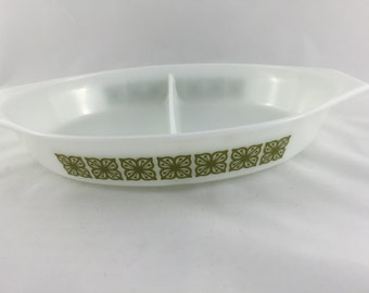 Vintage Pyrex Verde Floral Divided Casserole Dish, One and a Half Quart