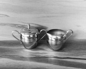 Vintage Stainless Steel Chrome, Cream & Sugar set,sugar bowl and cream pitcher,