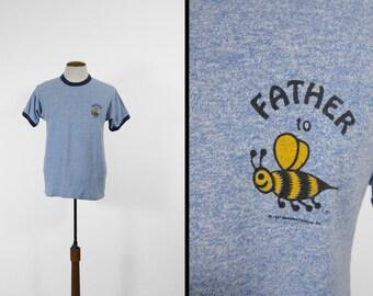 Vintage père d'abeille bleu ras du cou T-shirt doux et fin RAS de cou - Medium