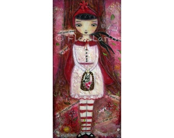 Little Red Riding Hood - Folk Art (5 x 10 inches Print)  by FLOR LARIOS