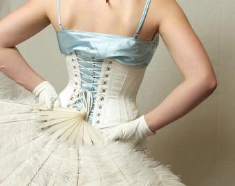 Wedding Lingerie, Underbust Corset, white cotton coutil