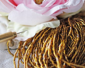 Gold color Cut Delica beads-Beads string-Cut beads