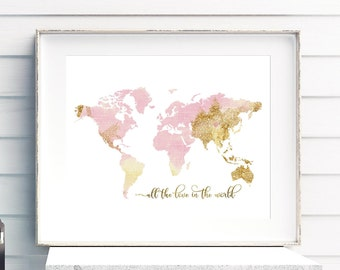 Nursery world map rose gold map nursery decor pink gold world map pink and gold nursery decor all the love in the world gumiabroncs Gallery