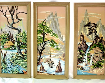 Vintage Paint by Number Triptych, Vintage Paint by Number Painting, Set of Vintage Paint by Numbers, Chinese Inspired Paint by Number, Asian