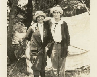 vintage snapshot 1919 Affectionate Women Camping by Tent Campgirls
