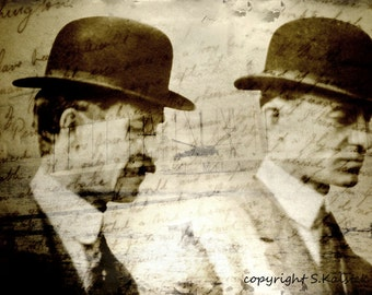 Wright Brothers Photography Collage, Sepia Airplane Print, First in Flight, Wright Bros Portrait with Text 8x12