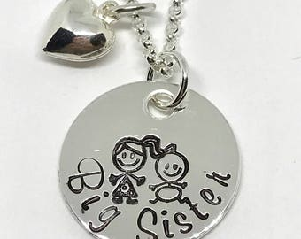 New Baby GIfts for Big Sister - Personalized Big Sister Necklace - Hand Stamped Jewelry - Personalized - Big Sister Gift Ideas - Sibling