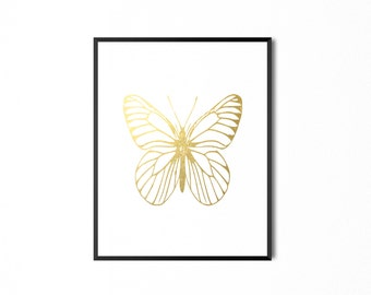 REAL GOLD FOIL Butterfly Foil Print, Insect Print, Gold Foil