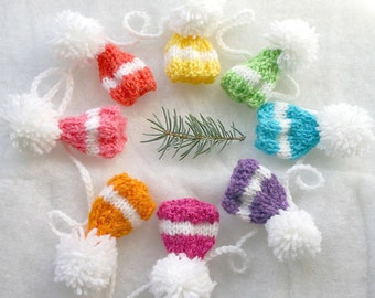 Bright Miniature Hat Garland- Birthday, Baby Shower, Spring Decor- 8 Sugarplum Hats- Egg Cozies- Rainbow