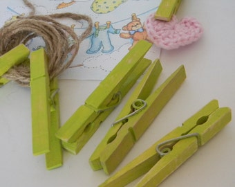 Altered set of clothespins in lime green shabby chic inspired