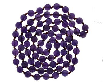 """Faceted 8mm Amethyst Necklace, 36"""" Necklace, Brownish Red Thread, Double Knotted,  Wholesale"""
