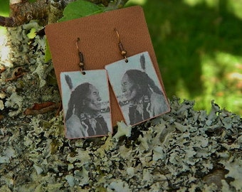 Black Elk earrings mixed media jewelry