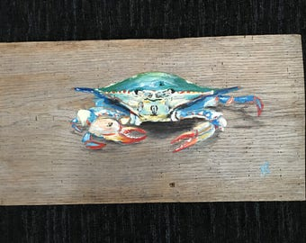 Blue Crab on reclaimed sanded White Oak