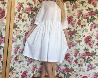 white linen dress, white summer dress,  linen dresses for women, white dress women, linen womens clothing, linen white, AnnaJovanovicFashion