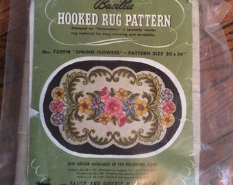 "Bucilla Hooked Rug Pattern Spring Flowers 30"" x 54"""