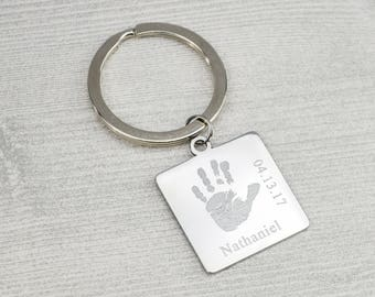 Father's Day Gift from Baby, Actual handprint keychain, Daddy Keychain, footprint key chain, Child name, personalized keychain for dad