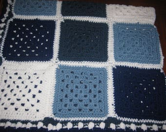 "Blue White Throw Crocheted Granny Square Mosaic Blanket Afghan New Fiber Art 44"" x 38"" Free Shipping"