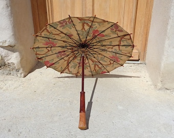 Antique French parasol, Japanese style floral fabric umbrella 1920s