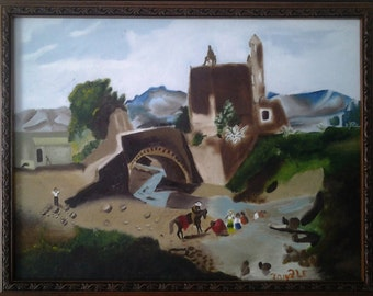 Mexican oil original painting of old Mexico City