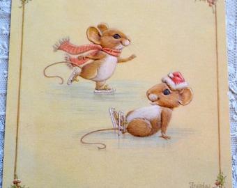 Vintage Christmas Card - Ice Skating Mice - Used