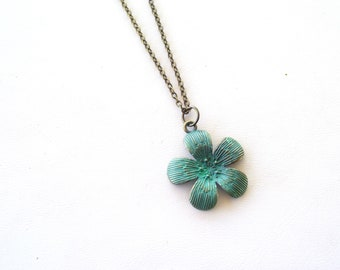 Verdigris Flower Necklace, Blue Floral Pendant Necklace, Turquoise Flower Pendant, Antiqued Brass Flower, Nature Jewelry, Mother's Day