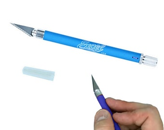 Excel K18 Grip-On Knife Blue w/ Safety Cap Blades Hobby Craft tools Wa 302-070