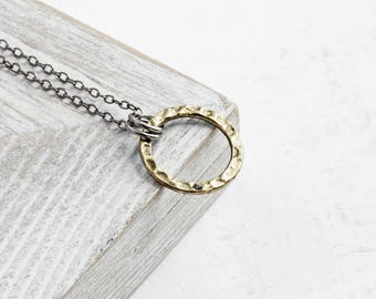 Small Gold Circle Necklace, Antiqued Gold Plated Pendant on Gunmetal Black Chain, Layering Necklace, Simple Jewelry