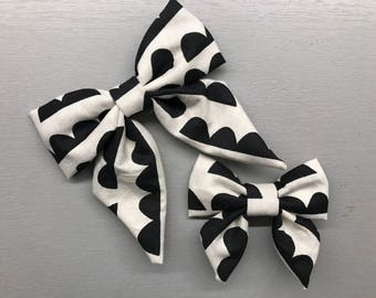 Black and White Sailor Bow Clip/Headband