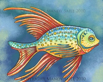 """Funk Fish 6 - a whimiscal 8 x 10"""" ART PRINT of a funky super colourful fish swimming in calm waters perfect for children or adults alike"""