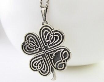 shamrock necklace, four leaf clover, clover necklace, lucky clover pendant, love silver necklace, lucky necklace, celtic love jewelry