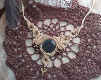 Godess Jewelry Mexikan rainbow obsidian makrame necklace boho gipsy bohemian pristess