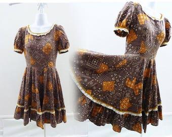 Vintage 50s Dress Size M L Brown Bandanna Cotton Rockabilly Circle Square Dance