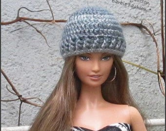 Gray Fashion Doll Hat, Barbie Doll Hat, Barbie Clothing, Barbie Crochet Hat, Beanie Hat For Barbie Doll, 1/6th Scale