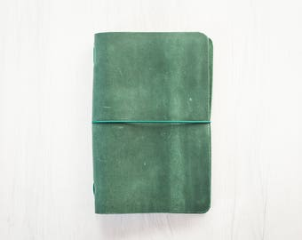 Leather Journal, Gift for him Green Leather notebook, Notebook Cover, Refillable leather journal Diary Travel Notebook gift under 25