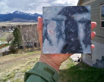 "Big Snowstorm, original art miniature oil painting by puci, 5x5"""