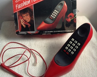 Vintage 1980 Red High Heel Shoe Phone.  WORKS. Made in Taiwan ROC. Columbia Red Pump phone. Has box & Instructions.  Kitsch.