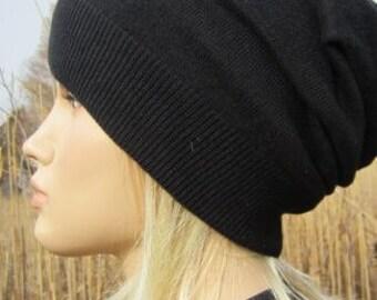 Cashmere Blend Unisex Slouchy Beanie Fine Black Hat A49