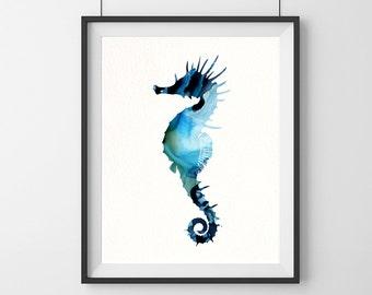 Seahorse Wall Decor, Seahorse Painting, Seahorse Print, Watercolor Seahorse, Nautical Wall Art Coastal Wall Decor Beach Art Print Sealife-61