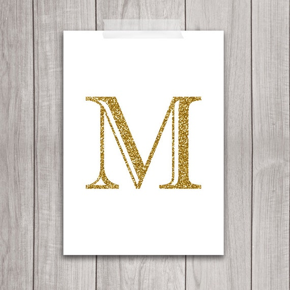 75% OFF SALE Gold Letter Art 5x7 Letter M Wall Art Gold