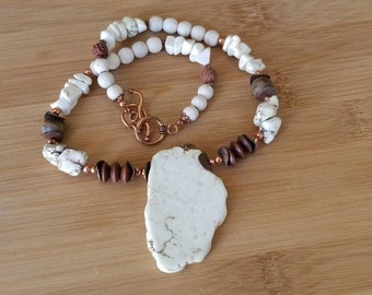 White and Brown Pendant Necklace with matte Tiger Eye and Copper