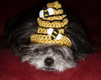 BEE HIVE pet hat with BEES - Dog or Cat - 2 to 20 lb pets-made to order