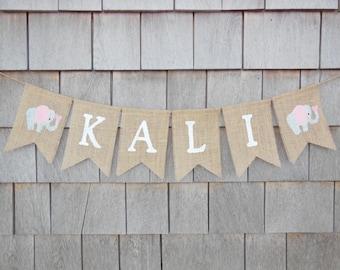 Custom Personalized Name Banner, Elephant Nursery Decor, Elephant Baby Shower Decor, Burlap Garland Bunting, Elephant Banner, Name Banner