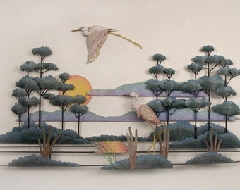 Pair of Cranes in the Marshlands Metal Wall Art - CW503