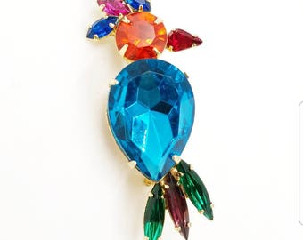 Colorful Rhinestone Parrot Brooch With Multi Color Rhinestones - Vintage Bird Pin, Bird Brooch, Large Parrot Brooch, Tropical Jewelry