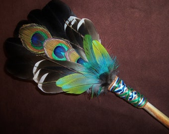 Smudge Fan- Esscence of Beauty- Sacred Smudge Fan with Kyanite - Made to Order
