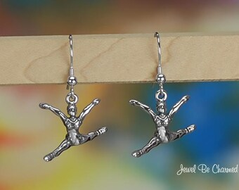 Sterling Silver Leaping Ballerina Earrings Fishhook Earwires Solid 925