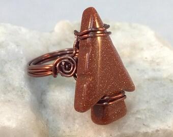 Copper Arrow Ring, Arrowhead Ring, Goldstone Copper Ring, Arrow Wrapped Ring; Copper Wrapped Ring,  Sparkley Arrowhead Ring, Bronze Ring