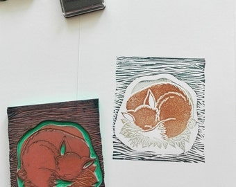 Fox rubber stamp for scrapbooking