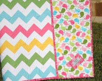 SALE Chevron Quilt, Spring Baby Girl Blanket, Pink Blue Yellow Green, Birdies Tweet, Crib Cot Bedding Nursery